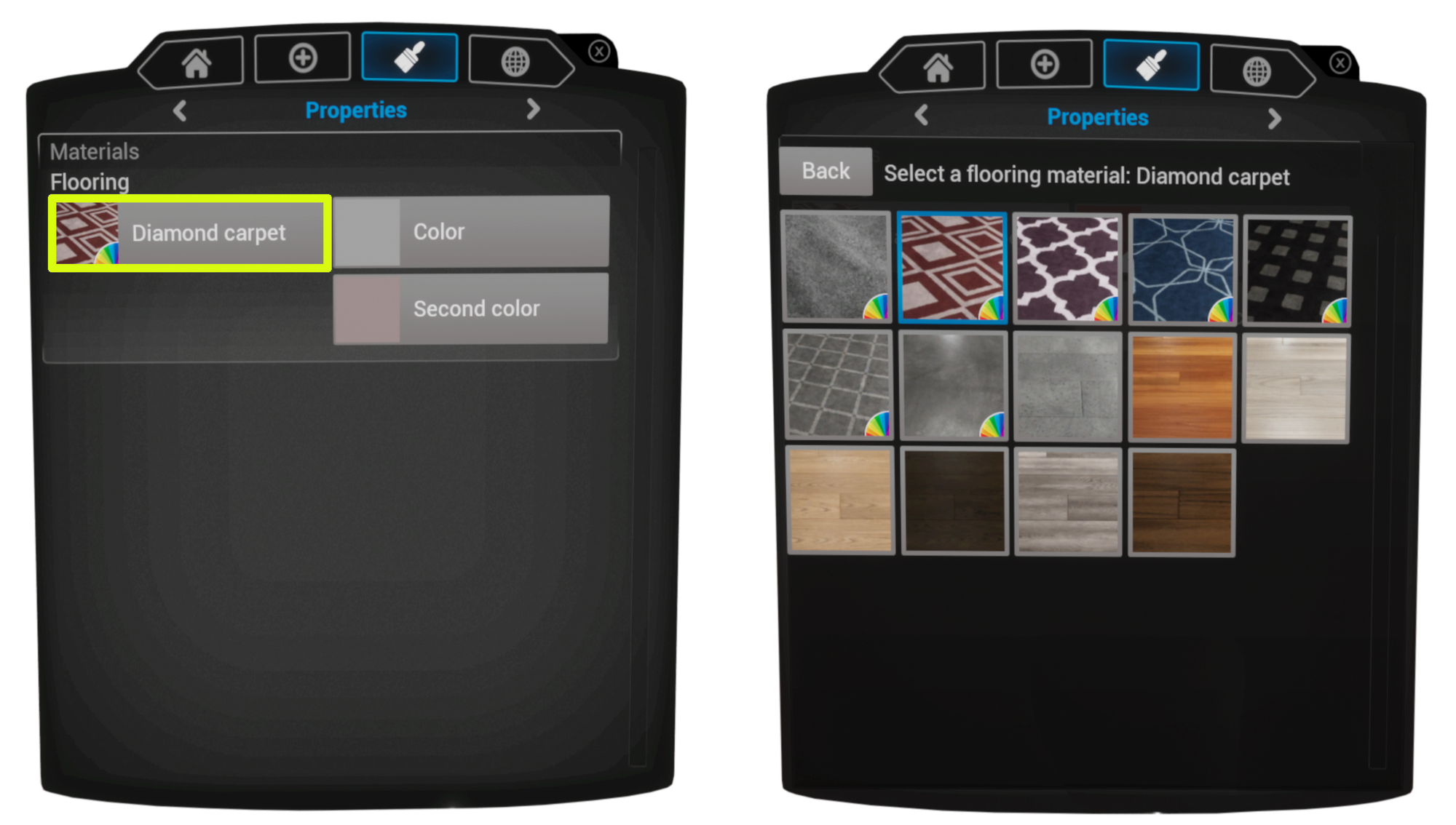 Example of Flooring Object Material Selection